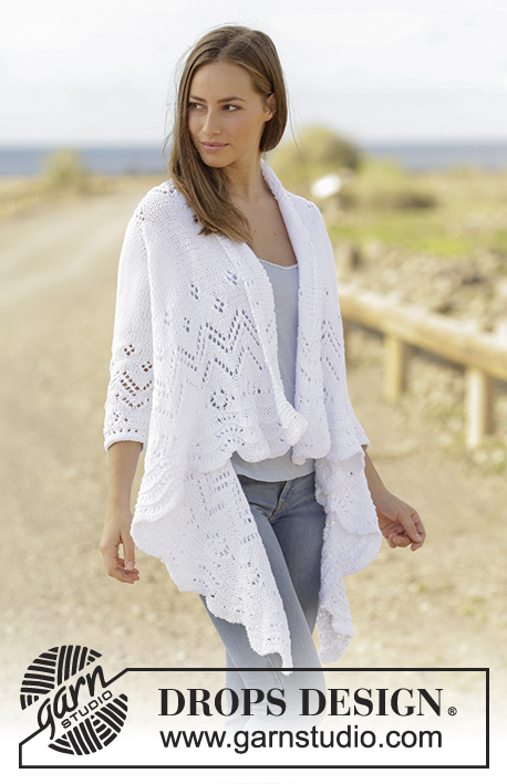 Hummingbird / DROPS 177-3 - Jacket knitted sideways with lace pattern and ¾ sleeves in DROPS Paris. Size: S - XXXL