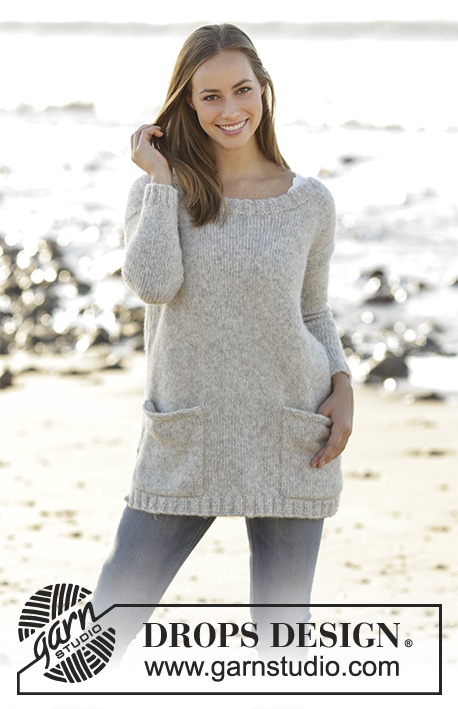 Evening Promenade Jumper / DROPS 178-1 - Jumper with round neck and pockets in DROPS Air. Sizes S - XXXL.