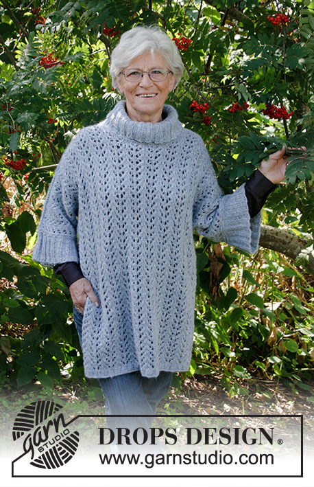 Beach Breeze / DROPS 178-2 - Knitted jumper with lace pattern, turtle neck and split in DROPS Air. Sizes S - XXXL.