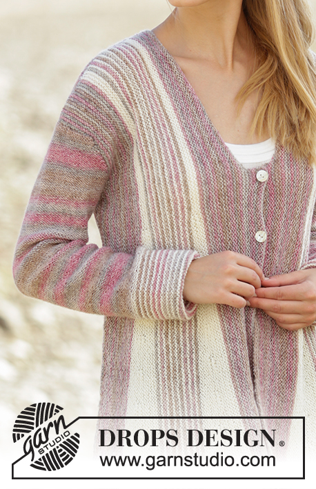 Rays of Spring / DROPS 178-26 - Knitted jacket in Garter stitch with short rows and stripes in DROPS Fabel. Sizes S - XXXL.