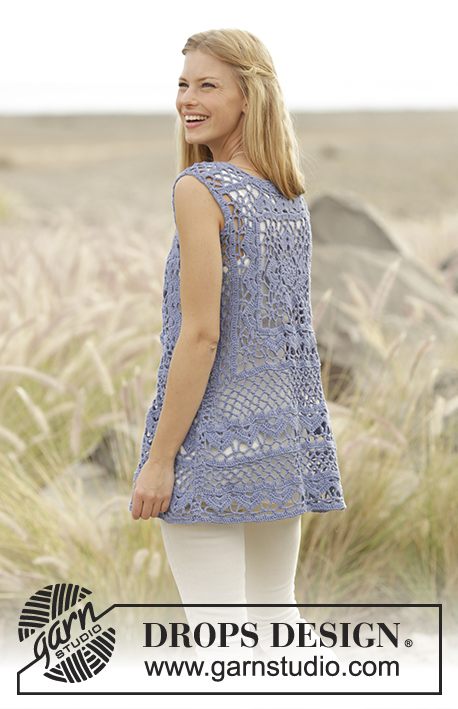 Forever Lace / DROPS 178-29 - Vest with crochet square and lace pattern, worked top down in DROPS Cotton Light. Sizes S - XXXL.