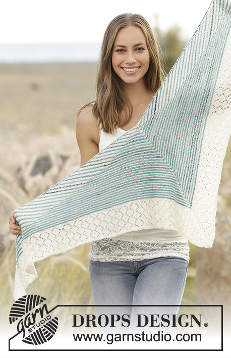 Shifting Tide / DROPS 178-33 - Shawl with garter stitch, stripes and lace pattern, worked in DROPS Fabel.