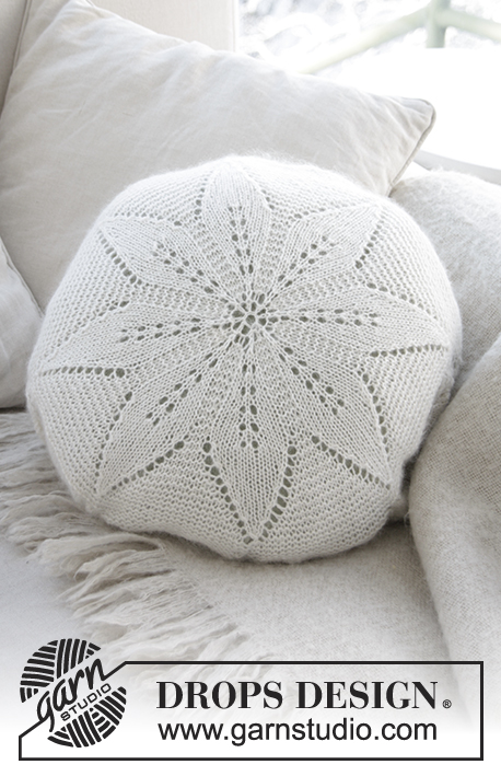 White Flower Pillow Drops 178 39 Free Knitting Patterns By Drops