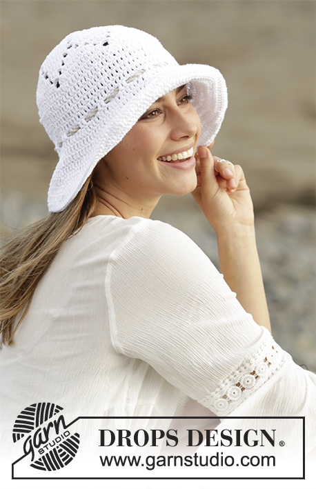 Sunny Smiles / DROPS 178-42 - Crochet hat with lace pattern in DROPS Paris.