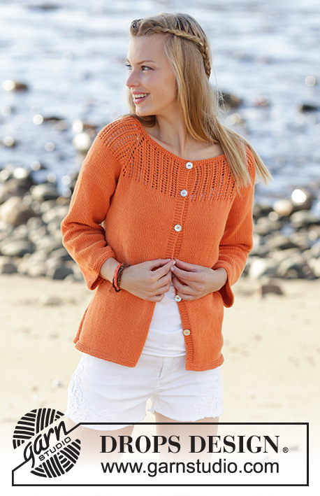 Orange Dream Cardigan / DROPS 178-43 - Jacket knitted top down with raglan, lace pattern on yoke, ¾ sleeves and A-shape in DROPS Safran. Size: S - XXXL