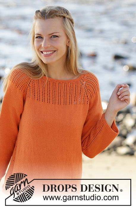 Orange Dream / DROPS 178-44 - Jumper knitted top down with raglan, lace pattern on yoke, ¾ sleeves and A-shape in DROPS Safran. Size: S - XXXL