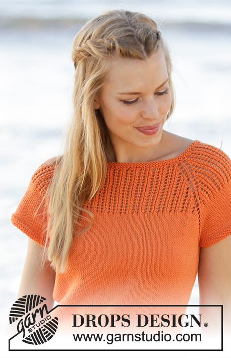 Orange Dream Top / DROPS 178-45 - Top knitted top down with raglan, lace pattern on yoke and A-shape in DROPS Safran. Size: S - XXXL