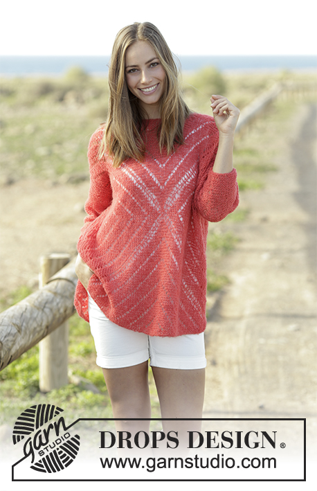 Center of my Heart / DROPS 178-56 - Jumper with lace pattern, worked from middle and outwards in a square in DROPS Brushed Alpaca Silk. Size: S - XXXL