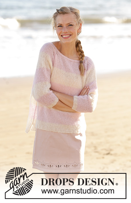 Strawberry Vanilla / DROPS 178-57 - Jumper with raglan and stripes, worked top down in DROPS Brushed Alpaca Silk. Size: S - XXXL
