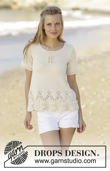 Istanbul / DROPS 178-63 - Top with wave pattern and lace pattern, worked bottom up in