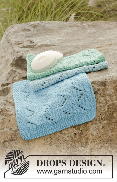 Tidy Tides / DROPS 178-65 - Knitted cloths with lace pattern and seed stitch in DROPS Paris.
