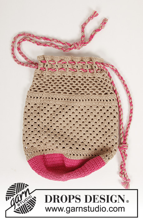 Berry Dip Bag / DROPS 178-71 - Crochet bag with lace pattern in DROPS Paris.