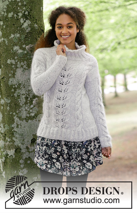 Winter Flirt / DROPS 179-26 - Knitted jumper with cables and lace pattern. Sizes S - XXXL.