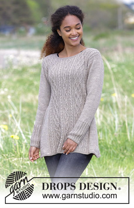 Morgan's Daughter / DROPS 179-3 - Knitted jumper with cables and A-shape, worked top down. Sizes S - XXXL.
