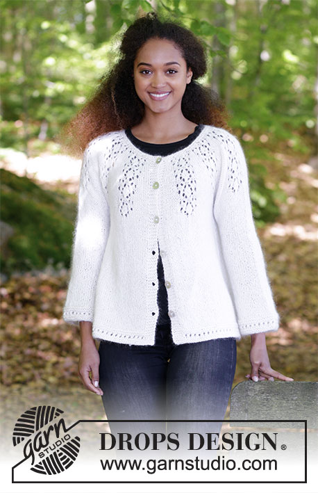 Nineveh / DROPS 179-7 - Knitted jacket with round yoke, lace pattern and A-shape, worked top down. Sizes S - XXXL.