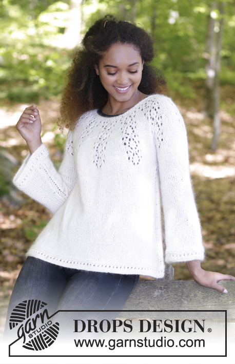 Nineveh Jumper / DROPS 179-8 - Jumper with round yoke, lace pattern and A-shape, knitted top down. Size: S - XXXL