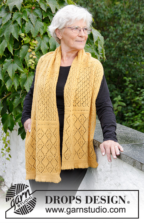 Dreamy Daffodil / DROPS 180-14 - Knitted stole with lace pattern and rib.
