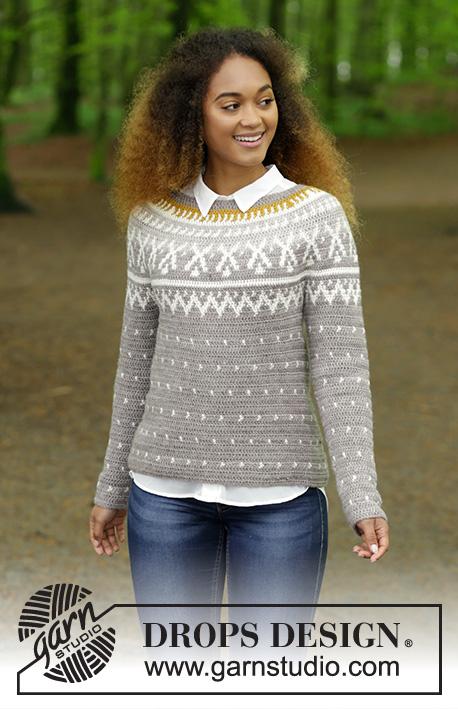 Winter Sunshine   DROPS 180-15 - Pullover mit Rundpasse und mehrfarbigem  Norwegermuster, gehäkelt 5a7331b05a