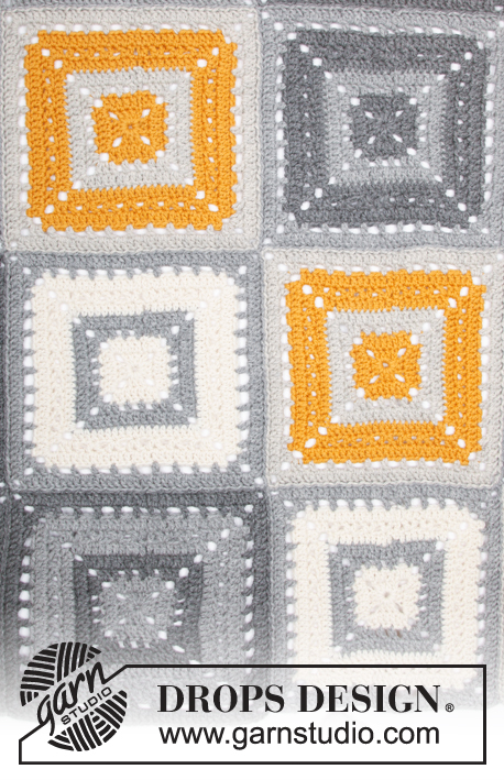 Tangy Squares / DROPS 180-17 - Crochet blanket with crochet squares.