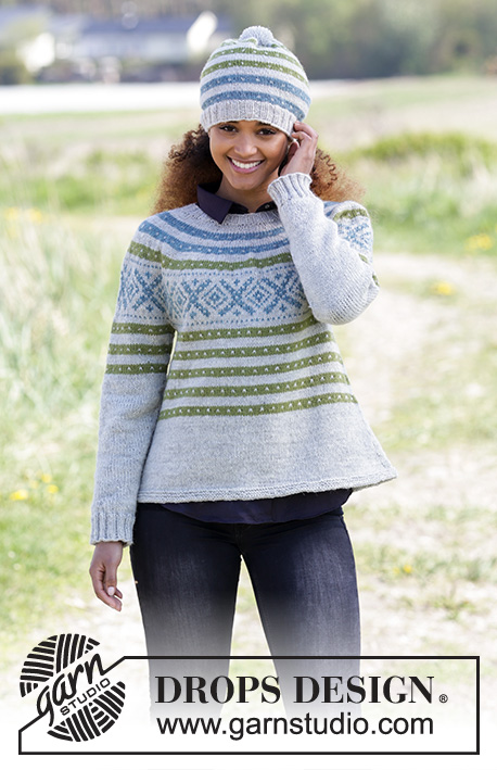 Nova Scotia / DROPS 180-22 - Set consists of: Knitted hat with Nordic Fana pattern and pompom. Jumper with round yoke, Nordic Fana pattern and A-shape, knitted top down. Size: S - XXXL Set is knitted in DROPS Karisma.