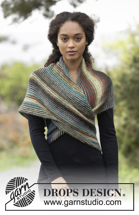 Herbs & Spices / DROPS 180-25 - Knitted shawl worked diagonally with garter stitch and stripes.