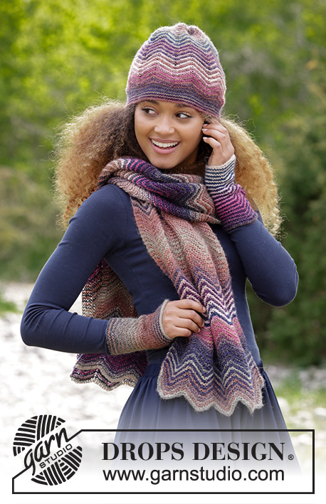 Warm Waves / DROPS 180-32 - Set consists of: Knitted scarf, hat and wrist warmers with stripes and zig-zag pattern in garter stitch. 