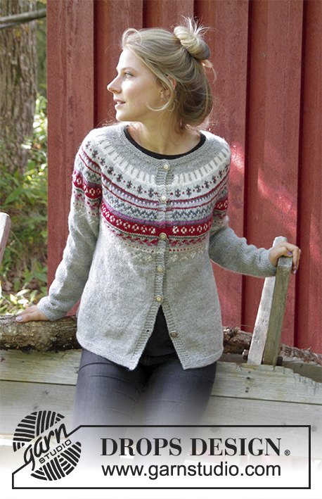 38cce8a891e5 Winter Berries Jacket   DROPS 181-15 - Free knitting patterns by ...