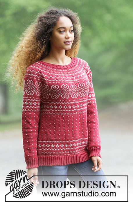 Rosendal Jumper Drops 181 2 Free Knitting Patterns By Drops Design