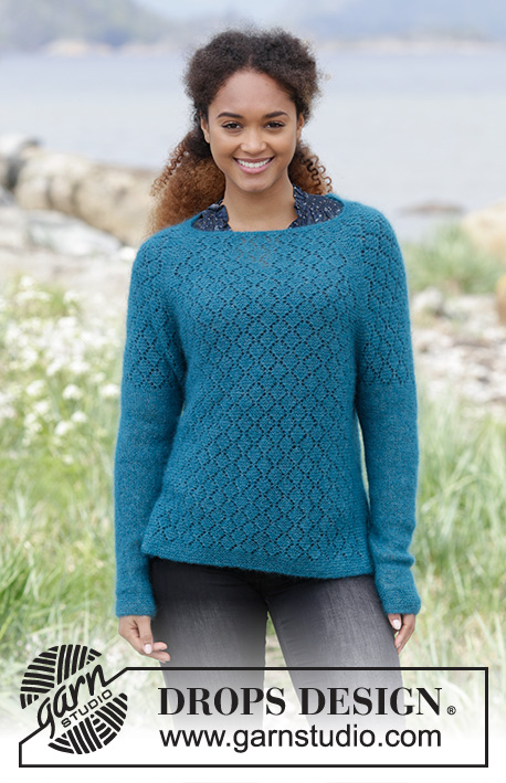Song of the Sea / DROPS 181-22 - Knitted jumper with raglan, lace pattern, garter stitch and split in the side, worked top down. Sizes S - XXXL.