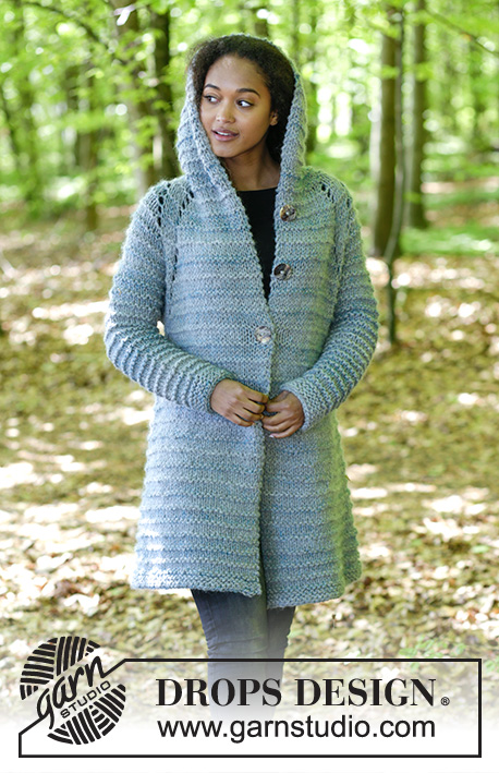 Reine / DROPS 181-30 - Knitted jacket with hood, raglan and textured pattern, worked top down. Sizes S - XXXL.