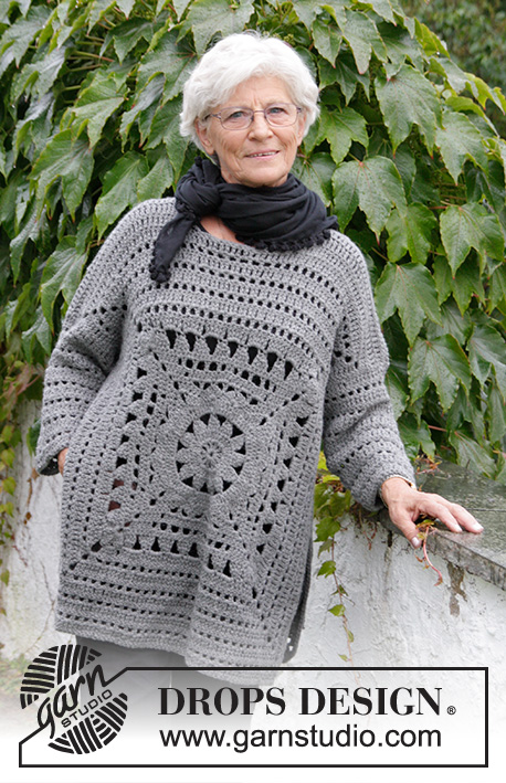 Magic Square / DROPS 181-31 - Pull au crochet avec carré et point ajouré. Du S au XXXL. Se crochète en DROPS Nepal.