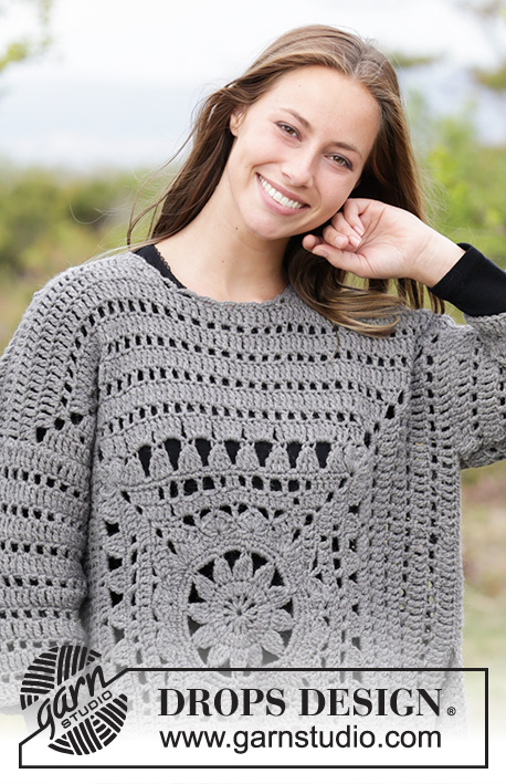 Magic Square / DROPS 181-31 - Crochet jumper with crochet square and lace pattern. Sizes S - XXXL.