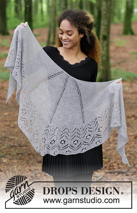 Wings of Love / DROPS 181-4 - Knitted shawl with lace pattern in stockinette stitch and garter stitch.