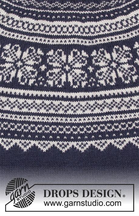 Lofoten / DROPS 181-9 - Pull avec empiècement arrondi, jacquard norvégien et forme trapèze, tricoté de haut en bas. Du S au XXXL.
