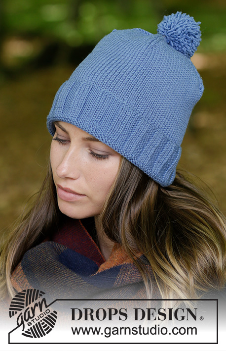 Limingen / DROPS 182-11 - Knitted hat with edge in rib and pompom.