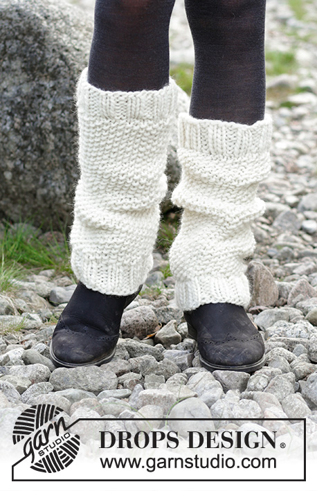 Be a Lamb / DROPS 182-29 - Leg warmers with seed stitch.