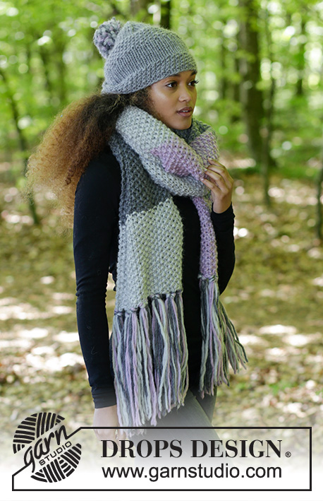 So Chill / DROPS 182-34 - The set consists of: Knitted scarf in moss stitch with fringe and hat with stripes in stocking stitch and moss stitch.