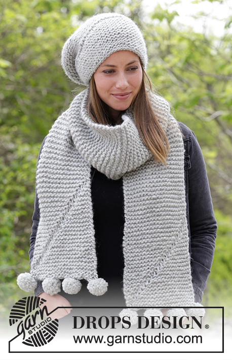 Heidrun / DROPS 182-35 - Set consists of: Knitted hat and scarf with short rows and garter stitch.