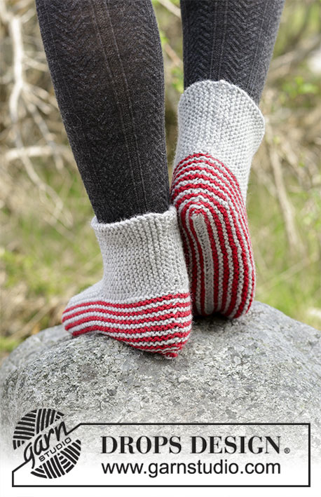 Nanna / DROPS 182-42 - Knitted slippers in garter stitch with stripes. 