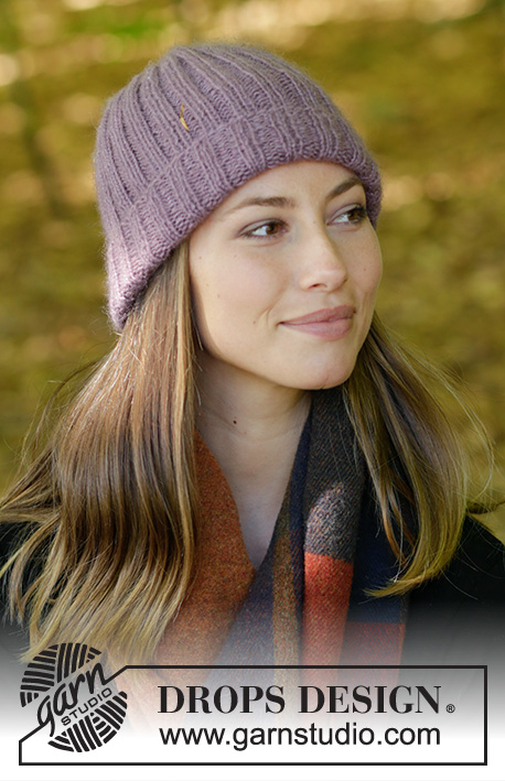 Vicky / DROPS 182-6 - Knitted hat with rib. Size: S - XL