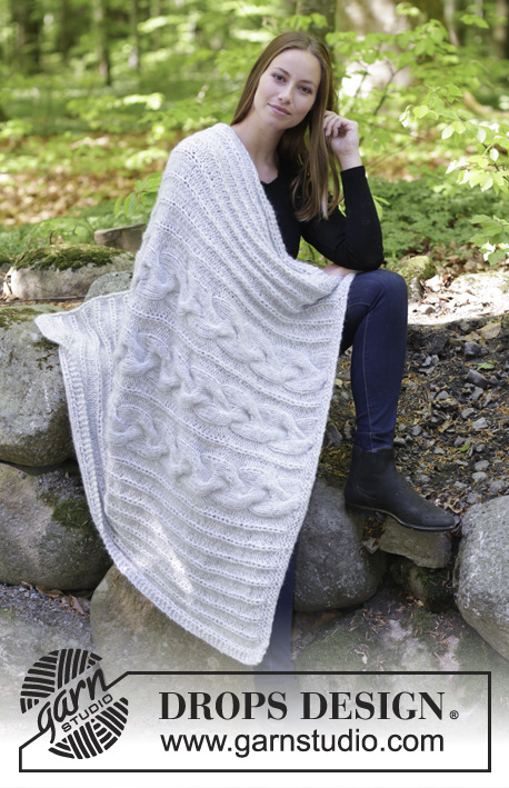 Dream Away / DROPS 183-16 - Knitted blanket with cables in 2 strands.