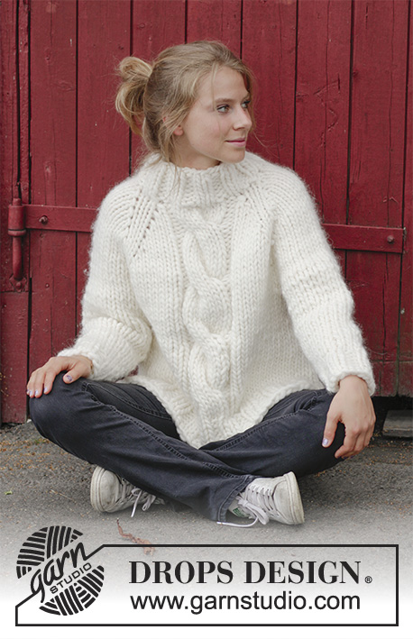 Mont Blanc / DROPS 183-18 - Knitted sweater with raglan, cables, high collar and split in sides, worked top down. Sizes S - XXXL.