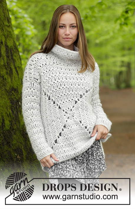 Relax / DROPS 183-19 - Sweater with lace pattern and high collar, crocheted from the middle and outwards in a square. Size: S - XXXL