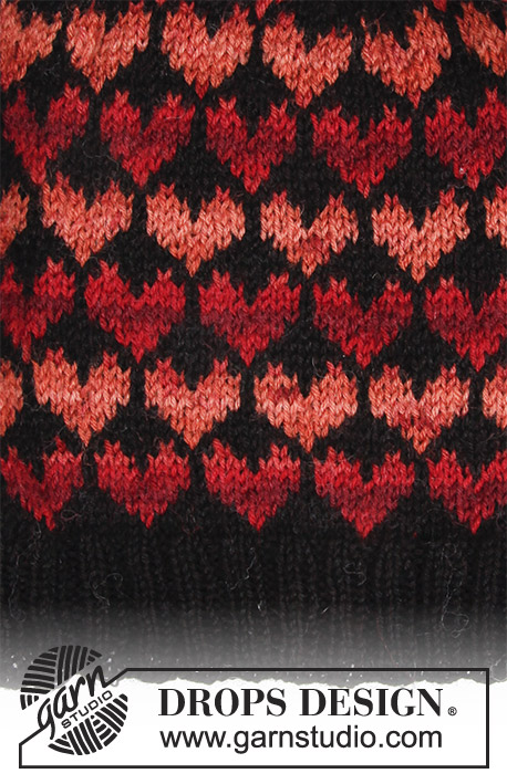 Queen of Hearts / DROPS 183-23 - Set consists of: Hat and mittens with hearts.