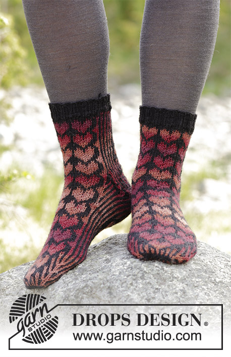 Queen of Hearts Socks / DROPS 183-24 - Socks with hearts, knitted from toe and up. 