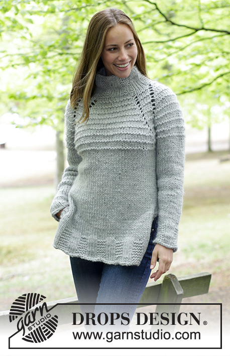 Ebba / DROPS 183-27 - Knitted jumper with high collar and raglan. Size: S - XXXL Piece is knitted top down in DROPS Eskimo.