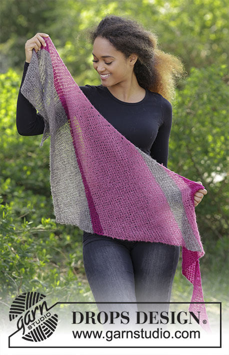 Everyday Choice / DROPS 183-28 - Shawl with garter stitch and stripes, worked diagonally. 
