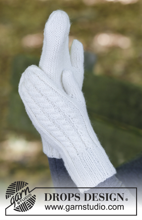 Morgenfrost / DROPS 183-29 - Knitted mittens with cables and textured pattern.
