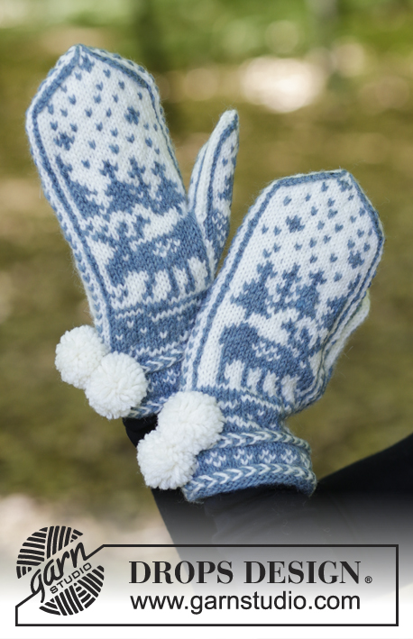 Moose on the Loose / DROPS 183-30 - Knitted mittens with multi-coloured Nordic pattern and Latvian cable. 
