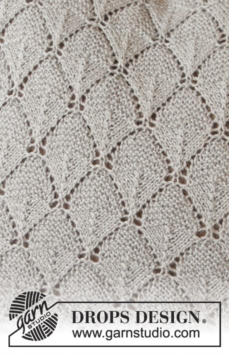 Alvira Pillow / DROPS 183-40 - Gebreid kussen met kantpatroon. Het werk wordt gebreid in DROPS Flora.